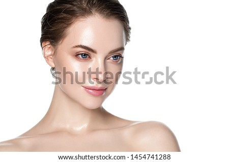 Beautiful woman skin care concept face beuty close up healthy clean skin