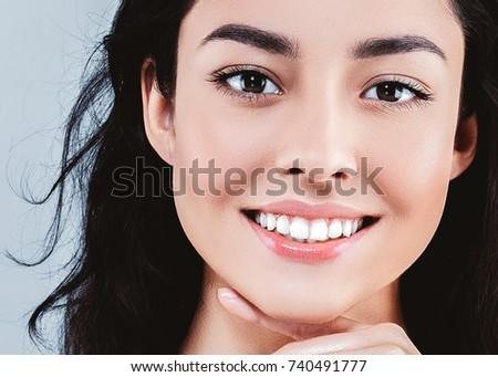 Beautiful woman skincare  beauty face closeup portrait #740491777