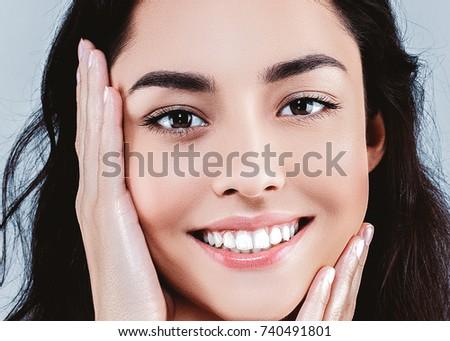 Beautiful woman skincare  beauty face closeup portrait #740491801