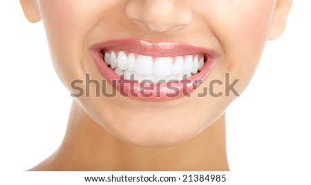 Beautiful woman smile and  teeth. Over  white background