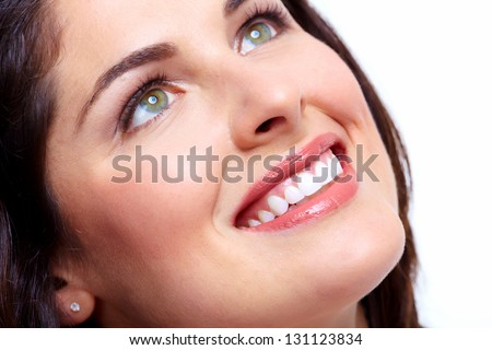 Beautiful woman smile. Dental health background.