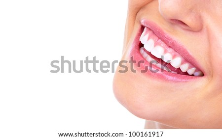 Beautiful woman smile. Dental health.Isolated on white background. - stock photo