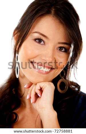 Beautiful woman smiling ? isolated over a white background