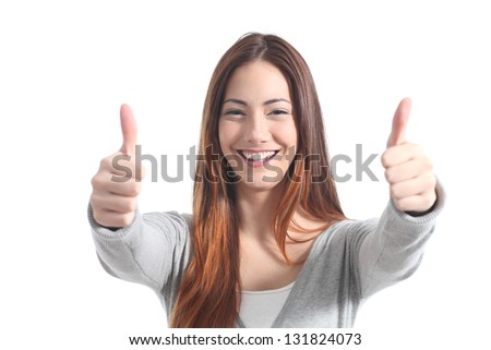 Beautiful woman smiling with both thumbs up on a white isolated background