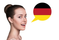 Beautiful woman speak.Bubble with German flag. Isolated background.