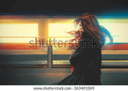 Stock Photo beautiful woman standing against colorful lights,digital painting