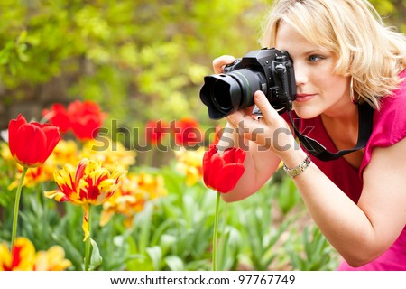 Beautiful woman taking photographs of tulips in a spring garden