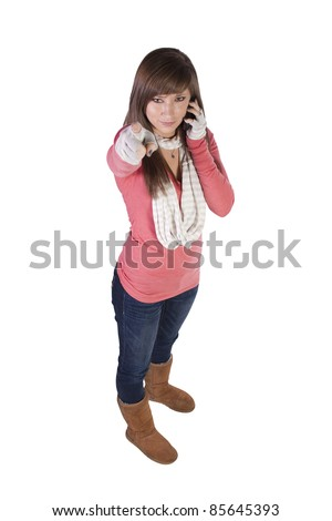Beautiful Woman Talking on the Cell Phone - Isolated Background