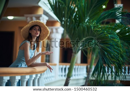 Beautiful woman terrace fun relaxation relax fashion