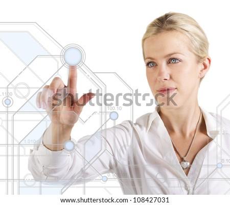 Beautiful woman touching a digital scheme