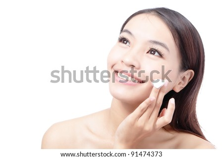 Beautiful woman washing her beauty face with cleansing foam on her hands for skin care concept , isolated on white background, model is a asian girl