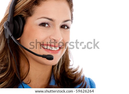 Beautiful woman wearing a headset - Business concepts
