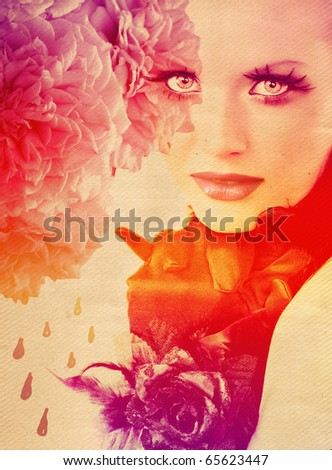 beautiful woman wearing gloves with rose on rainbow background with roses