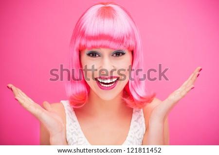 Beautiful woman wearing pink wig #121811452