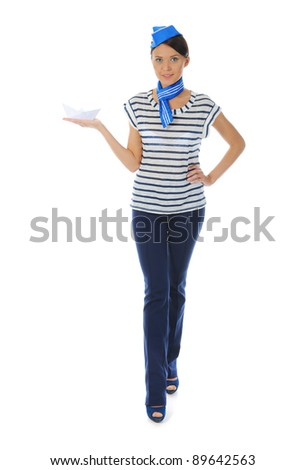 beautiful woman wearing sailor hat. Isolated on white background
