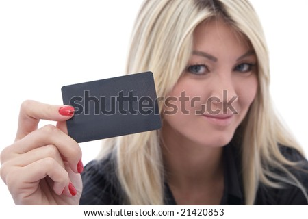 beautiful woman with a credit card on white