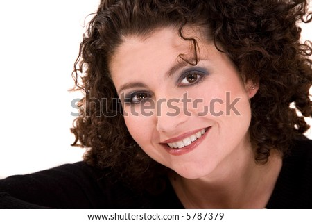 Beautiful woman with a gorgeous smile and curly hair