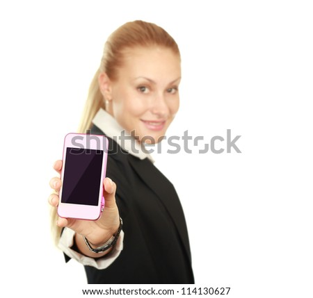 Beautiful woman with a phone in his hand. Isolated on white background