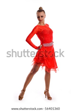 beautiful woman with a red dress