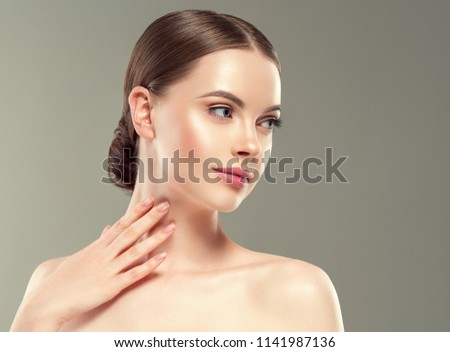 Beautiful woman with beauty healthy shine skin and hair closeup cosmetology portrait #1141987136