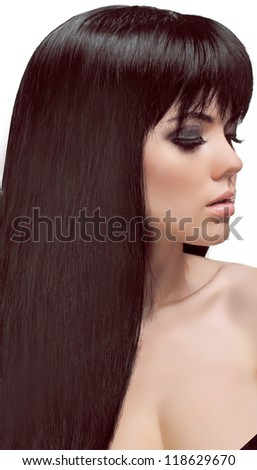 Beautiful Woman with beauty long brown hair isolated on white background