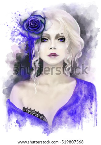 Stock Photo beautiful woman with blonde curly hair, watercolor painting, splash paint. Digital illustration. blue rose. passionate, impassioned,  fantasy portrait