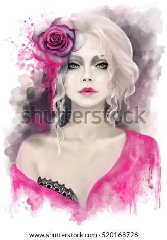Stock Photo beautiful woman with blonde curly hair, watercolor painting, splash paint. Digital illustration. pink rose. passionate, impassioned,  fantasy 