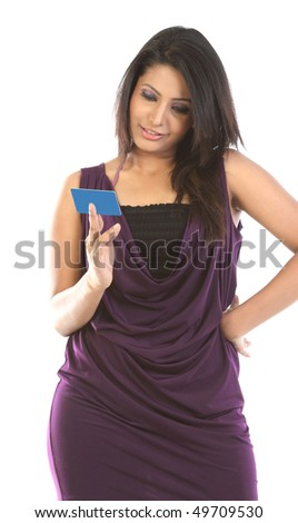 Beautiful woman with blue blank card