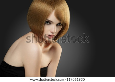 Beautiful Woman with Bob hairstyle. High quality image.