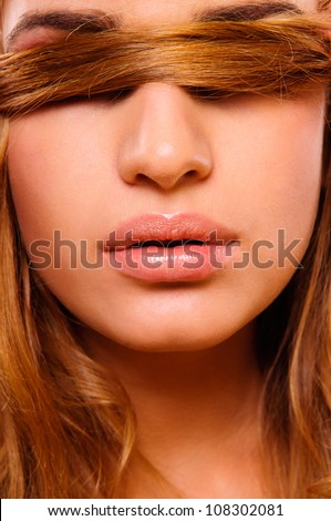 Beautiful woman with  bright lips make-up. Close-up portrait