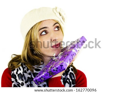Beautiful woman with Christmas present, gift Stock fotó ©