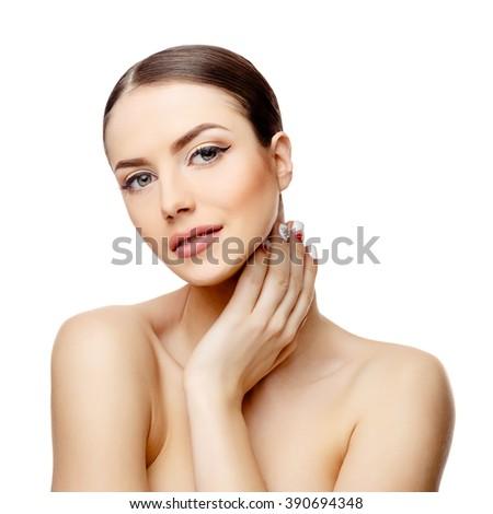Beautiful Woman with Clean Fresh Skin  #390694348