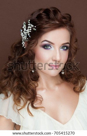 Beautiful Woman With Dark Wavy Hair Festive New Year Make Up