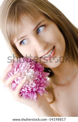 beautiful woman with flower on white background