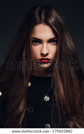 beautiful woman with fluffy hair