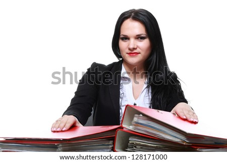 beautiful woman with folders isoalted on white