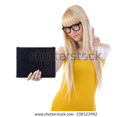 Beautiful woman with glasses holding tablet giving thumbs up over white - stock photo
