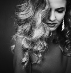 beautiful woman with gorgeous curly hair.B&W