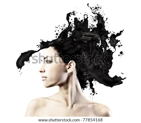 Beautiful woman with hair melting in black paint