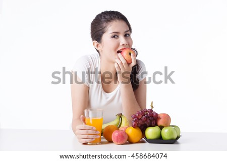 beautiful woman with healthy food, white background isolate