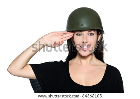 woman with helmet army soldier saluting on studio isolated background ...