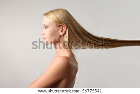 Beautiful woman with her hair lifted up