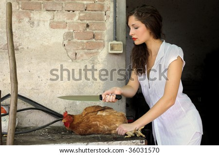 beautiful woman with knife and chicken