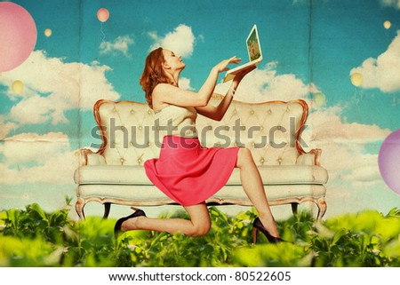 beautiful woman with laptop in clouds, vintage pattern