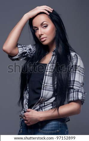 Beautiful woman with long black hair