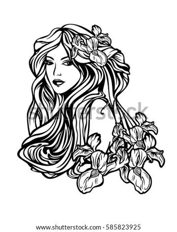beautiful woman with long hair among iris flowers - art nouveau style illustration