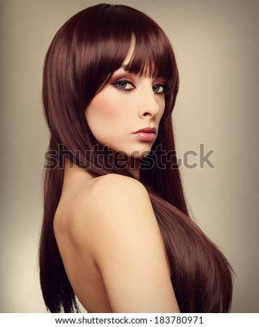 Beautiful woman with long hair. Art closeup portrait