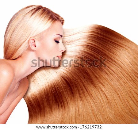 Beautiful woman with long hair over white background