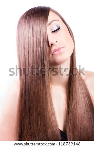 beautiful woman with natural long hair