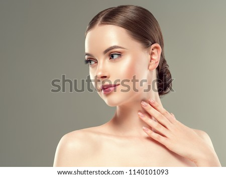 Beautiful woman with natural makeup healthy skin beaauty concept #1140101093